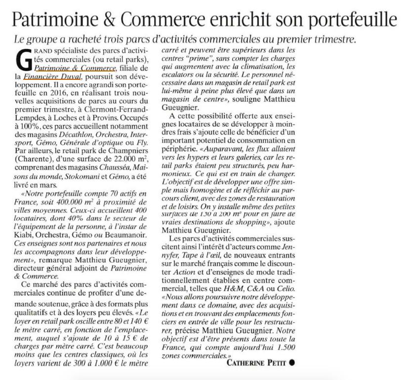 Patrimoine & Commerce enrichit son portefeuille groupe duval eric duval