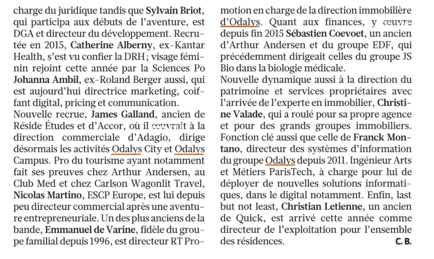 Le Figaro : Odalys equipe dirigeante