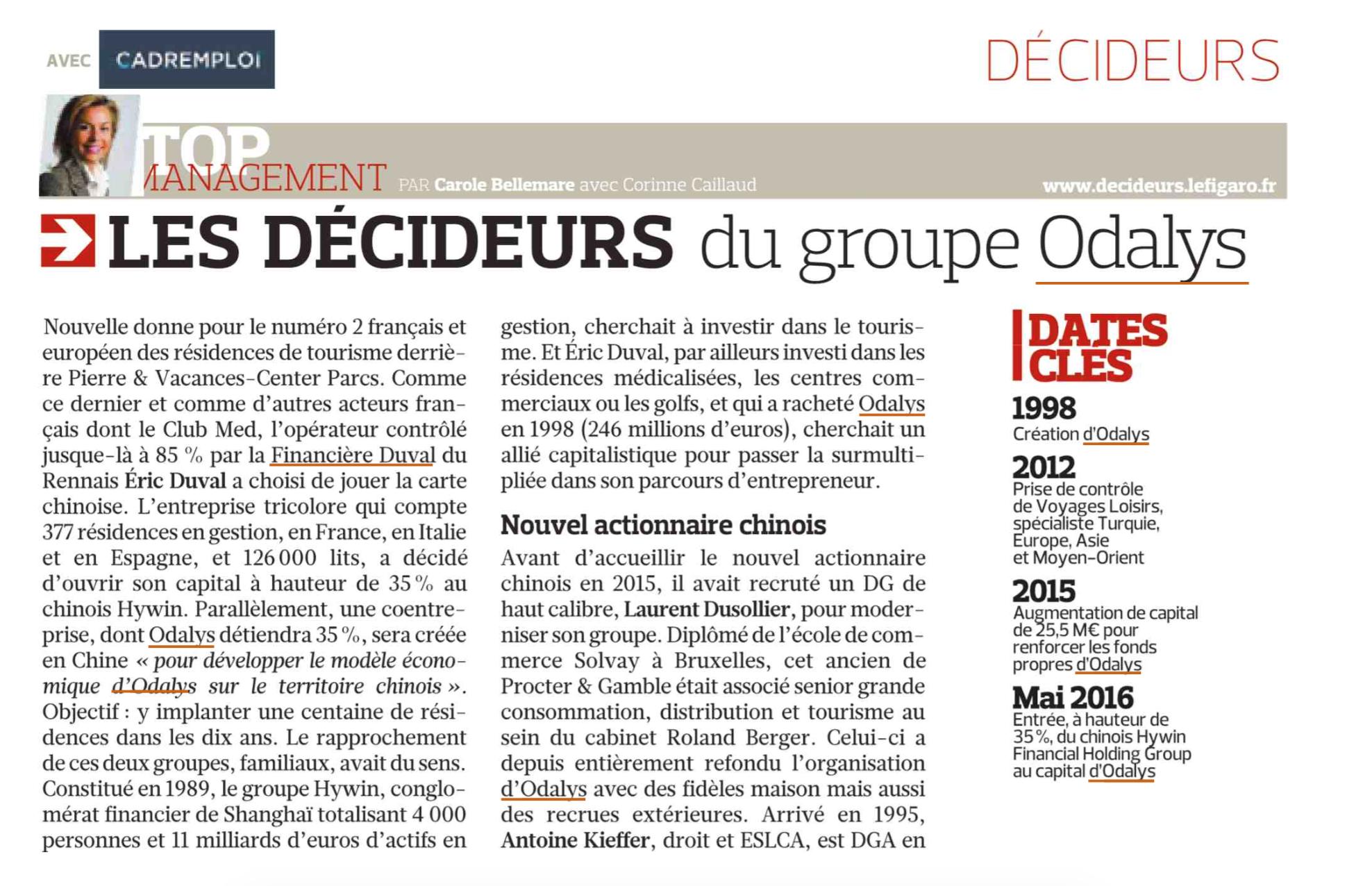 Le Figaro : Odalys